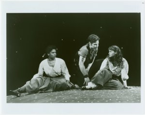 [Audra McDonald (Carrie Pipperidge), Michael Hayden (Billy Bigelow) and Sally Murphy (Julie Jordan) in the 1994 revival of Carousel]