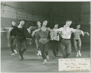[Carol Haney (choreography) and dancers in rehearsal for Flower Drum Song]