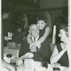 Richard Rodgers (music) and Pat Suzuki (Linda Low) at a party for Flower Drum Song]
