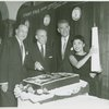 Joseph Fields (book), Richard Rodgers (music), Oscar Hammerstein II (lyrics) and Pat Suzuki (Linda Low) at a party for Flower Drum Song]