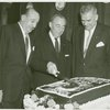 Joseph Fields (book), Richard Rodgers (music) and Oscar Hammerstein II (lyrics) at a party for Flower Drum Song]