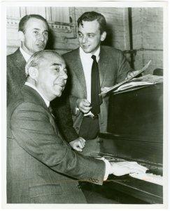[Arthur Laurents (book), Richard Rodgers (music) and Stephen Sondheim (lyrics) at the first rehearsal for Do I Hear a Waltz?]