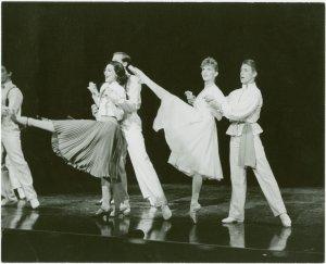[Christine Andreas (Frankie Frayne), Lara Teeter (Phil Dolan III), Natalia Makarova (Vera Barnova) and George De la Pena (Konstantine Morrosine) in the 1983 revival of On Your Toes]