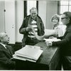 [Richard Rodgers (Music), Nicol Williamson (Henry VIII), Penny Fuller (Anne Boleyn/Princess Elizabeth) and Sheldon Harnick (Lyrics) in rehearsal for Rex]