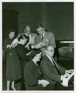 [Isabel Bigley (Jeanie), Joan McCracken (Betty Loraine), George Abbott (director), Oscar Hammerstein II (book and lyrics), Margot Hopkins (rehearsal pianist) and Richard Rodgers (music) in rehearsal for Me and Juliet]