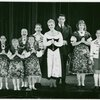 [Marilyn Rogers (Brigitta), Evanna Lien (Gretl), Kathy Dunn (Louisa), Mary Susan Locke (Marta), William Snowden (Friedrich), Mary Martin (Maria Rainer), Theodore Bikel (Captain Georg von Trapp), Lauri Peters (Liesl) and Joseph Stewart (Kurt) in The Sound of Music]