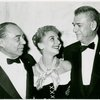 Richard Rodgers (music), Mary Martin (Maria Rainer) and Oscar Hammerstein II (lyrics) at the opening night of The Sound of Music]