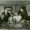Richard Rodgers (music), Russel Crouse and Howard Lindsay (book), Vincent J. Donehue (director), Mary Martin (Maria Rainer), Theodore Bikel (Captain Georg von Trapp) and Oscar Hammerstein II (lyrics) at reading of The Sound of Music]