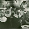 Elizabeth Howell? (Sister Berthe), Muriel O'Malley? (Sister Margaretta), Karen Shepard? (Sister Sophia), unidentified, and Nan McFarland? (Frau Schmidt) in dressing room at The Sound of Music]