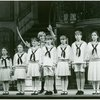 [Mary Mazzello (Gretl), Lauren Gaffney (Marta), Kia Graves (Brigitta), Debby Boone (Maria Rainer), Ted Huffman (Kurt), Kelly Karbacz (Louisa), Richard A. Blake (Friedrich) and Emily Loesser (Liesl) in the 1990 revival of The Sound of Music]