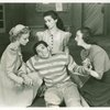 Marcy Westcott (Consuelo Casey), Desi Arnaz (Manuelito), Diosa Costello (Pepe) and Mary Jane Walsh (Eileen Eilers) in Too Many Girls]