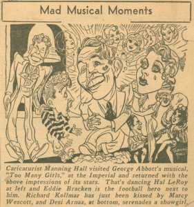 [Caricature in the New York Daily Mirror (11/22/1939) of the cast of Too Many Girls]