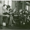 [Richard Kiley (David Jordon), Diahann Carroll (Barbara Woodruff), Noelle Adam (Jeanette Valmy), Alvin Epstein (Luc Delbert), Bernice Rossi (Comfort O'Connell), Don Chastain (Mike Robinson) and cast in rehearsal for No Strings]