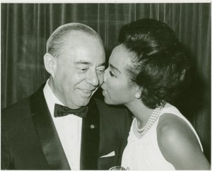 [Richard Rodgers (music) and Diahann Carroll (Barbara Woodruff) at party for No Strings]