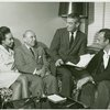 Diahann Carroll (Barbara Woodruff), Richard Rodgers (music), Samuel Taylor (book) and Richard Kiley (David Jordon) in rehearsal for the stage production No Strings.