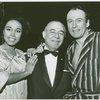 [Diahann Carroll (Barbara Woodruff), Richard Rodgers (music) and Richard Kiley (David Jordon) backstage at No Strings]