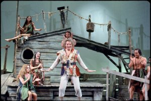 [Danny Kaye (Noah) and cast in Two By Two]
