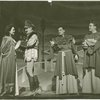 Katherine Anderson (Queen Guinevere), unidentified actor, unidentified actor and Dick Foran (Martin) in the 1943 revival of A Connecticut Yankee]
