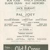 Program for the 1963 revival of Pal Joey, at the New York City Center