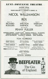 [Program for a preview performance (April, 1976) of Rex]