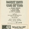Program for the opening night  of Two By Two, at the Imperial Theatre, November 10, 1970