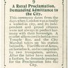 A Royal Proclamation, Demanding Admittance to the City.