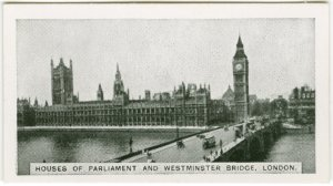 House of Parliament and Westminster Bridge, London.