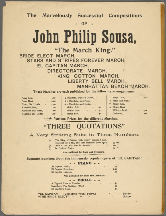 This is What John Philip Sousa and The snow in the fields is lying deep. [first line] Looked Like  in 1898