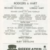 Program for the revue Rodgers & Hart, at the Helen Hayes Theatre