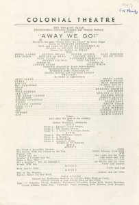 [Program (dated March 15, 1943) for Away We Go!, the pre-Broadway title of Oklahoma! at the Colonial Theatre (Boston, Mass.)]