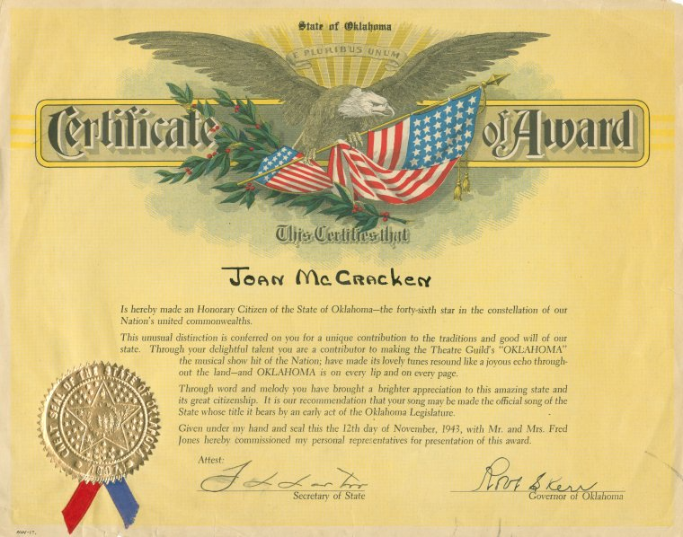 This is What Robert S. Kerr and Certificate from the State of Oklahoma awarded to Oklahoma! cast member Joan McCracken (Sylvie) making her an honorary citizen of the state of Oklahoma Looked Like  on 11/12/1943