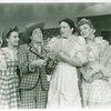 Joan Roberts (Laurey), Joseph Buloff (Ali Hakim), Betty Garde (Aunt Eller) and Celeste Holm (Ado Annie) in Oklahoma!]
