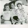 Joan Roberts (Laurey), Alfred Drake (Curly) and Celeste Holm (Ado Annie) in Oklahoma!]