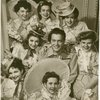 Alfred Drake (Curly) and cast backstage in Oklahoma!]