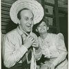Howard Da Silva (Jud Fry) and actress backstage at Oklahoma!]