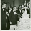 Oscar Hammerstein II (lyrics), Richard Rodgers (music), Rouben Mamoulian (director) and Theresa Helburn (Theatre Guild) celebrating the 5th anniversary of Oklahoma!]