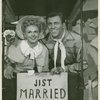 Betty Jane Watson (Laurey replacement) and Harold (later known as Howard) Keel (Curly replacement) in Oklahoma!]