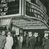 """N.A.A.C.P. demonstrators protesting in front of the Republic movie theater during the showing of D.W. Griffith's film """"The Birth of a Nation,"""" at Broadway and W. 51st Street, New York City, October 11, 1947."""