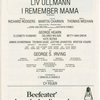 Alexander H. Cohen and Hildy Parks present Liv Ullmann in I Remember Mama, the musical