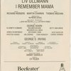 Program for the opening night (5/31/1979) of I Remember Mama at Majestic Theatre