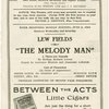 Program for The Melody Man, dated June 2, 1924, at the 49th Street Theatre