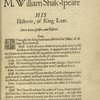 M. William Shak-speare: His True Chronicle Historie of the life and death of King Lear and his three Daughters