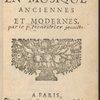 Des représentations en musique anciennes et modernes. (Title page)