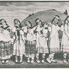 "Six women in a scene from ""Le Sacre du Printemps."""