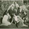 Dorothy Fields with Herbert Fields, Rose Harris Schoenfeld, Joseph Fields, and Lew Fields sitting on lawn.