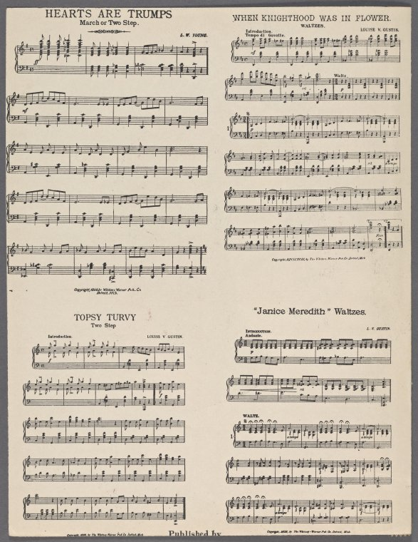 This is What Frank Murphy and My little treasure my hearts delight. [first line of chorus] Looked Like  in 1900