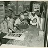 Federal Theatre Project, Negro Theatre, Sign Painting department, headed by Tipp Beavers. Workshop employees producing posters, display letters, and a cardboard ark, for various New York-based Federal Theatre productions, 1936]