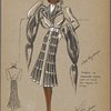 Belted coat with tiered ribbon design on skirt]