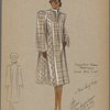 Plaid swing coat with tucks at shoulder]