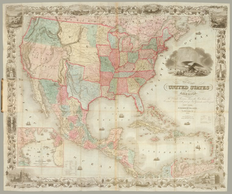 Map of the United States of America, the British provinces, Mexico, the West Indies and Central America, with part of New Granada and Venezuela / map drawn by Geo. W. Colton ; engraved by John M. Atwood ; border desig'd. & eng'd. by W. S. Barnard.